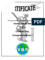 Cricket Certificate