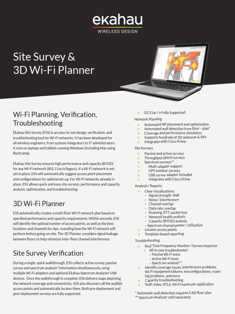 Ekahau Site Survey DS   Wi Fi   Wireless Access Point