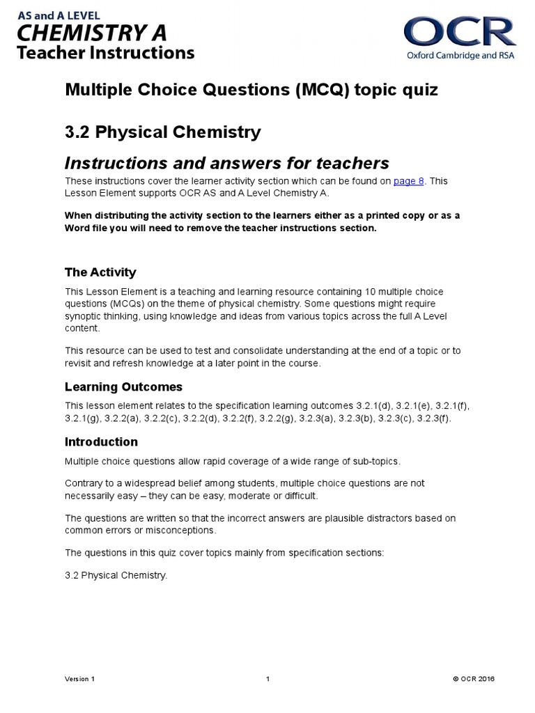 283424 Physical Chemistry Mcq Topic Quiz Lesson Element