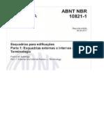 NBR 10821-1- Esquadrias Externas - Terminologia