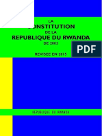 LA CONSTITUTION DE LA REPUBLIQUE DU RWANDA DE 2003 REVISEE EN 2015