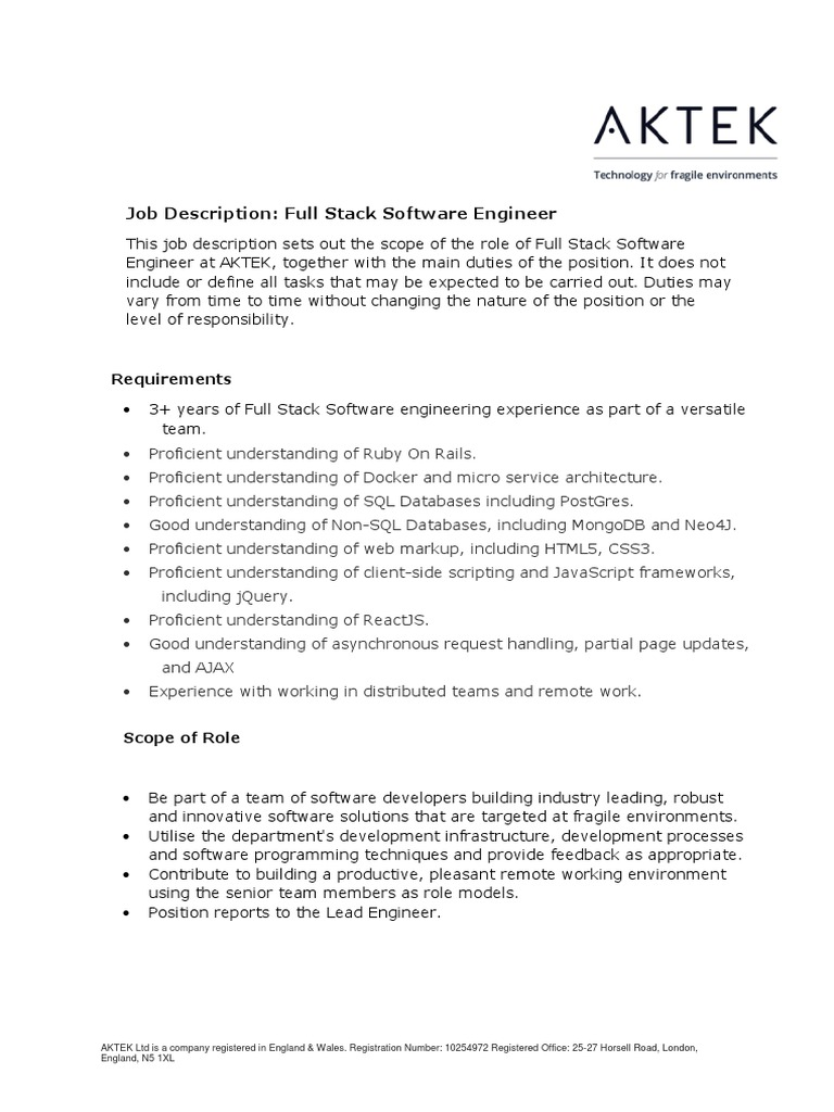 aktek job description software engineering full stack dynamic web page ruby on rails - Responsibilities Of A Software Engineer