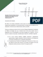 Carta Del Senador Manuel Bartlett Al Presidente de La Mesa Directiva, Senador, Ernesto Cordero