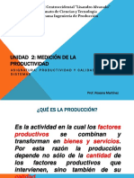 Unidad 2 Medición de Productividad Con Pto Equilibrio 2016