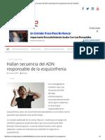 Hallan Secuencia Del ADN Responsable de La Esquizofrenia _ Arsenal Terapéutico