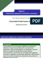Tema 2 Expresiones Algebraicas, Ecuaciones y Funciones