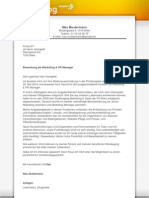 Bewerbungsschreiben Marketing und PR Manager