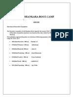 Adi Shankara Bootcamp Report -2016
