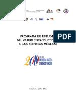 4.- Programa de Estudio Curso Introductorio a Las Ciencias Medicas 2016