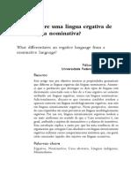 O Que Difere Uma Língua Ergativa de Uma Língua Nominativa