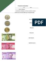 Prueba de Matemática Monedas John