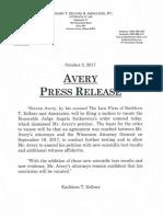 State of WI v. Steven Avery — Kathleen Zellner Press Release 10.3.17