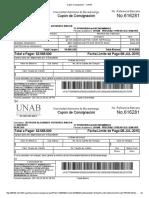Cupón Consignación -- UNAB