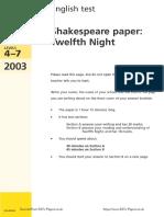 Ks3 English 2003 Shakespeare Twelfth Night