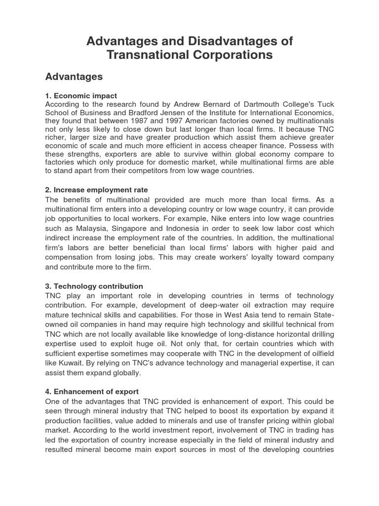 transnational corporations advantages and disadvantages