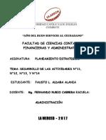 PLANEAMIENTO ESTRATEGICO -DESARROLLO DE LAS ACTIVIDADES N°11, N°12, N°13, Y N°14