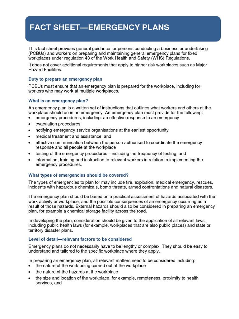 Emergency Plans Fact Sheet | Emergency Management | Emergency