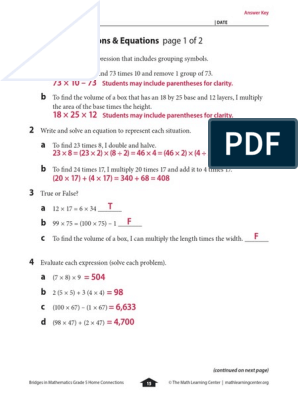 bridges in mathematics grade 5 home connections answer key