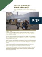 Contaminación Por Plomo Sigue Afectando a Niños en La Oroya