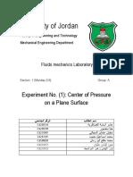 Fluid EXP 1 Centre of Pressure