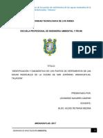 Identificacióny Diagnóstico de Los Puntos de Vertimientos de Las Aguas Residuales de La Ciudad de San Jerónimo Andahuaylas Talavera