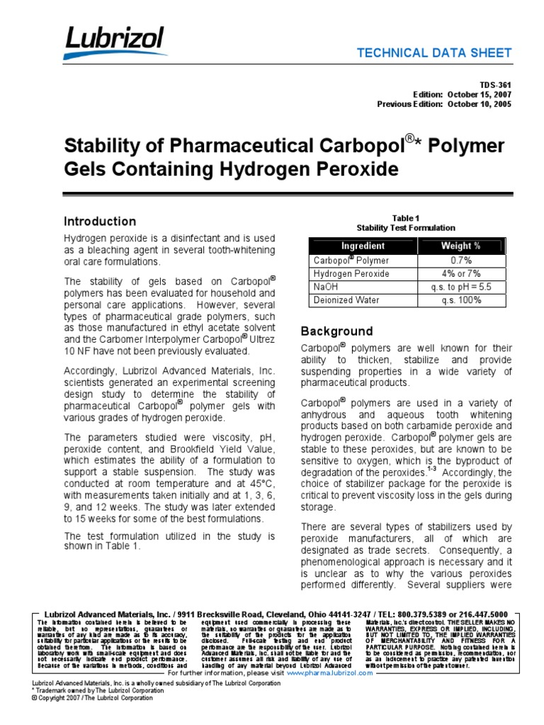 Stability of Carbopol Gels Containing Hydrogen Peroxide | Hydrogen