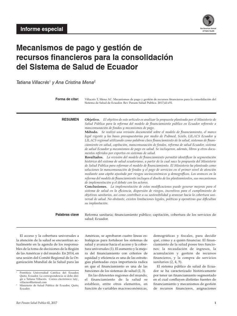 Mecanismos de Pago y Gestion de Recursos Financieros Para La ...