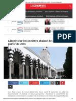 Tunisie _ L'Impôt Sur Les Sociétés Abaissé de 30 à 25% à Partir de 2015
