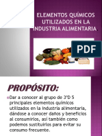 Elementos Químicos Utilizados en La Industria Alimentaria