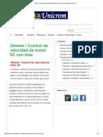 Dimmer Control de Velocidad de Motor AC Con Triac Electrónica Unicrom