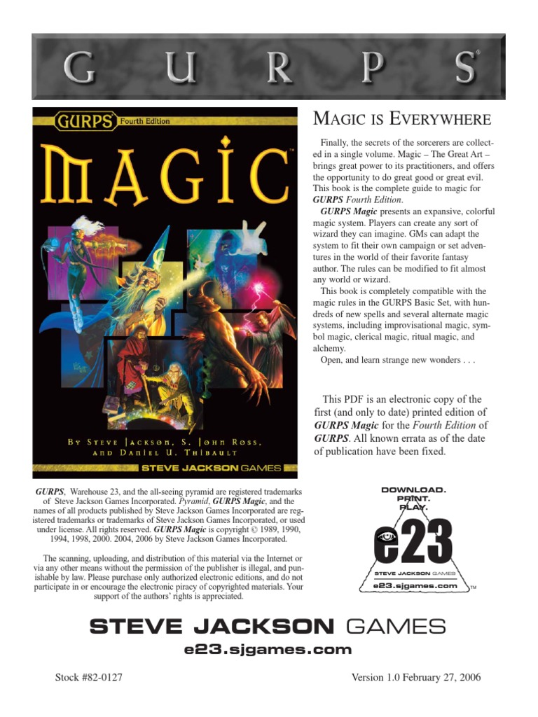 GURPS 4E - Magic [SJG31-0101, v1 0] pdf | Magic (Paranormal