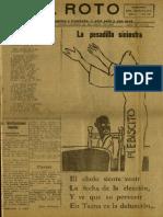 Periódico El Roto. Tacna, Chile, Domingo 25.Abr.1926