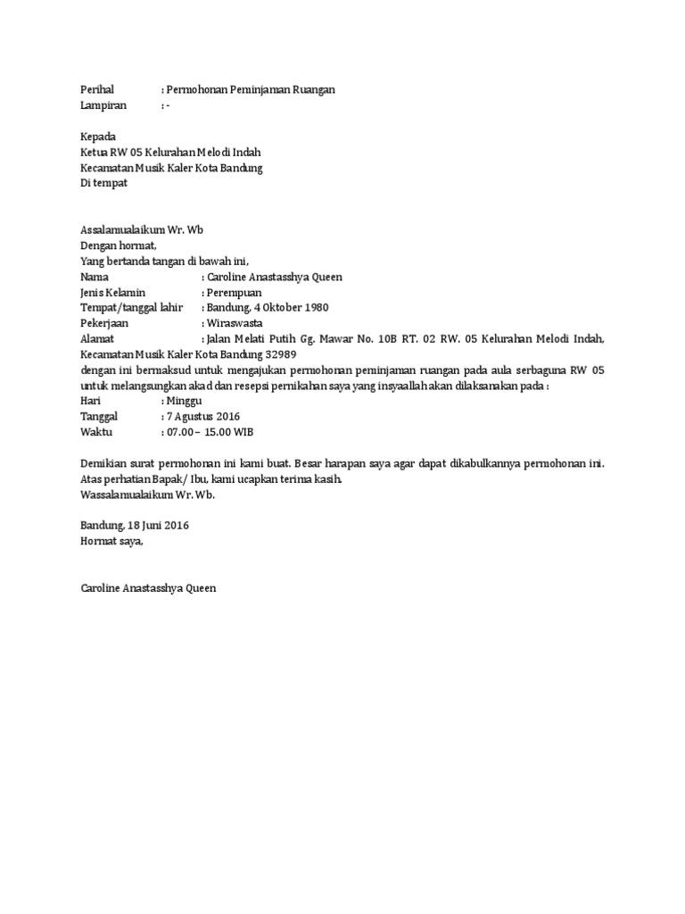 Contoh Surat Permohonan Peminjaman Ruangan Nikah
