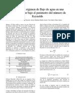 Análisis Del Régimen de Flujo de Agua en Una Tubería Circular Bajo El Parámetro Del Número de Reynolds