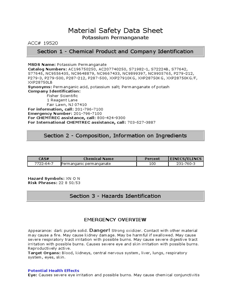 Material Safety Data Sheet Kalium Permanganat Oxygen Manganese