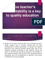 Prove Teacher's Accountability is a Key to Quality
