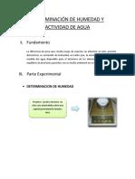 Determinacion de Humedad y Actividad de Agua