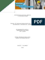 Programación, Costos y Presupuestos de Obra - UNAD