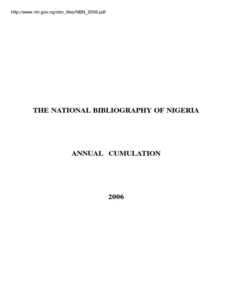 National bibliography of nigeria nbn2006 international standard national bibliography of nigeria nbn2006 international standard serial number cataloging fandeluxe Image collections