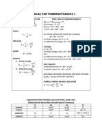 Formulas for Thermodynamics 1