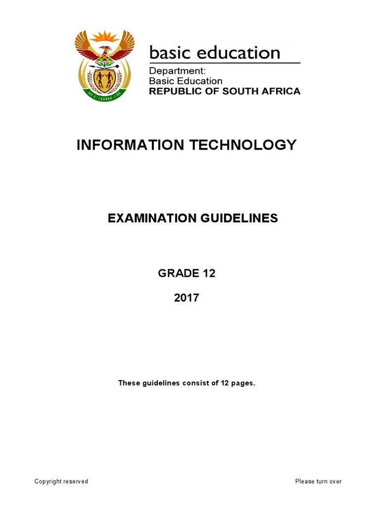 it exam guidelines grade 12 2017 object oriented programming rh scribd com