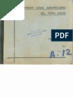 1972 Honorio Pinto El Primer Censo Agropecuario Del Peru 1929