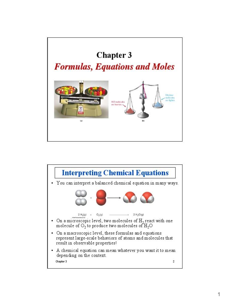 Chapter 3 Formulas, Equations and Moles | Mole (Unit ...