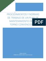 Procedimientos y Normas de Trabajo de Un Plan de Mantenimiento de Un Torno Convencional