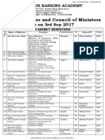 Council of Minister as on 3 Sep 2017
