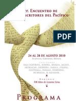 PROGRAMA III ENCUENTRO DE ESCRITORES DEL PACÍFICO. ACAPULCO-2010