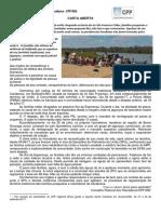 Carta Aberta da Assembleia CPP Regional MG e ES