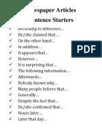 Newspaper Articles Sentence Starters