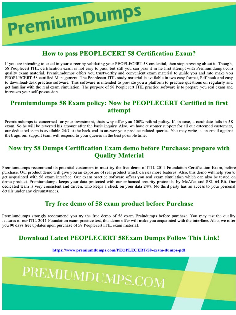 Peoplecert 58 Itil 2011 Foundation Exam Questions 1 Business