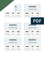 Cartões Com Divisão Silabica - MÉTODO 28 PALAVRAS